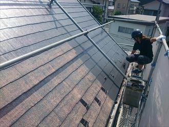 急こう配の屋根塗装