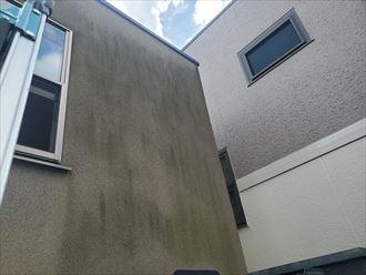 モルタル外壁の防水性が低下しているので苔が発生