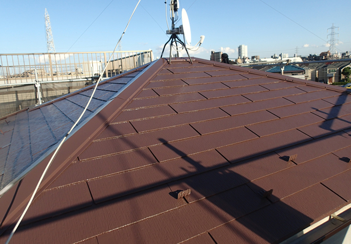サーモアイ4F(クールナポリブラウン)で塗装したスレート屋根