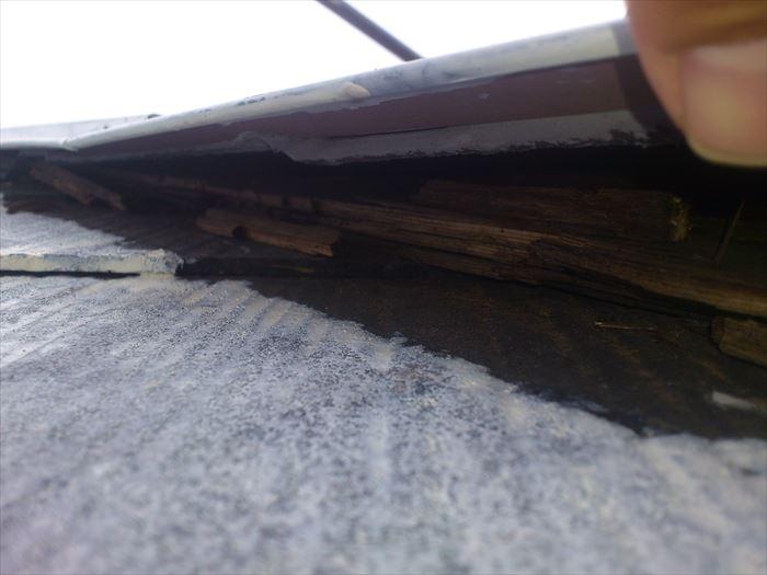 棟板金の貫板腐食