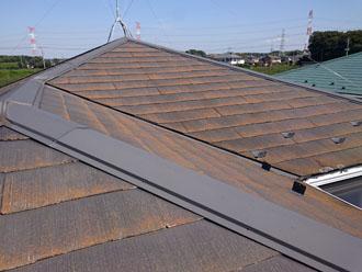 塗膜の防水機能が低下し、藻が発生しているグレーのスレート屋根