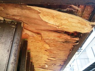 軒天のボードが腐食し剥離