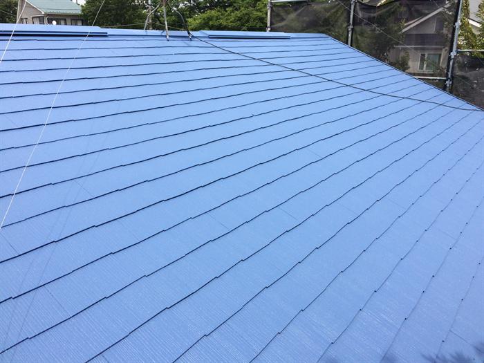ライトブルー系の屋根塗装
