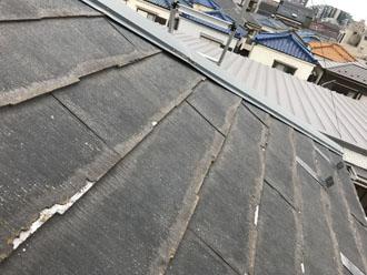 剥離が見られるパミール屋根