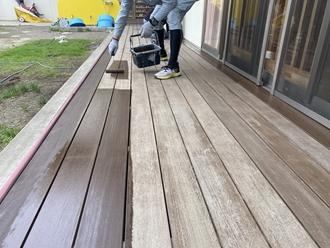 千葉市美浜区打瀬にてウッドデッキにキシラデコールで塗装工事