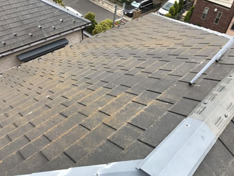 屋根の防水機能が低下し、藻が発生しているスレート屋根