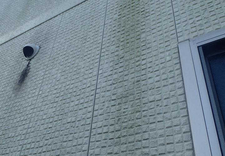 君津市北子安で意匠性の高いサイディング外壁には苔が発生し目地のシーリング材も傷んでいました