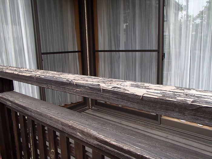 ウッドデッキの笠木腐食