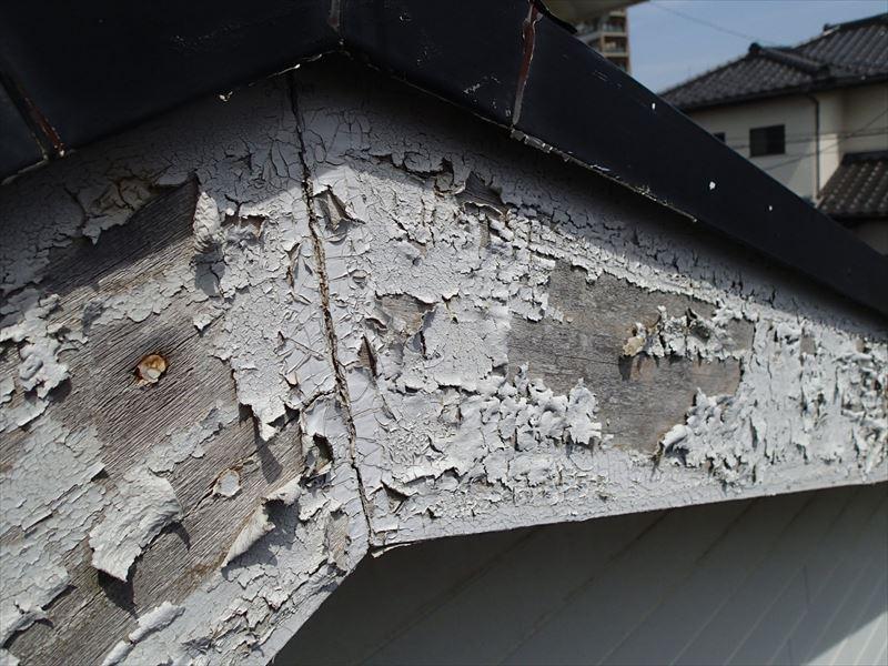 茂原市茂原 破風板の塗膜の剥がれ