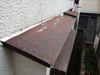 鋼板部の塗膜の剥がれ