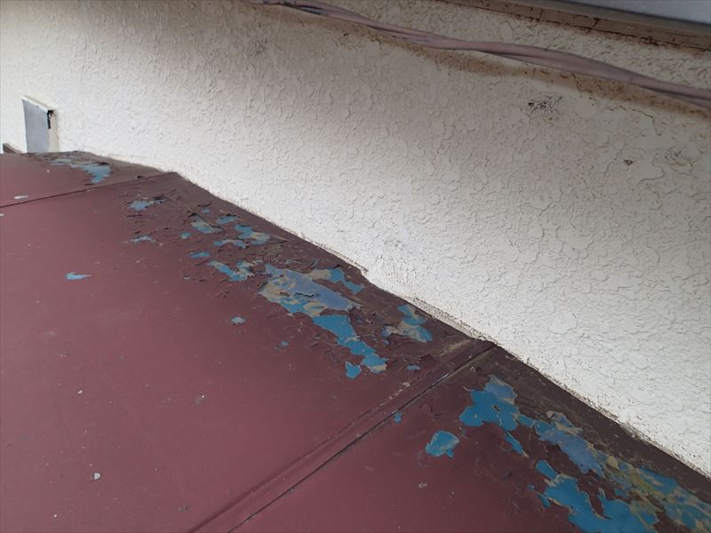 木更津市江川 庇屋根の塗膜の剥がれ