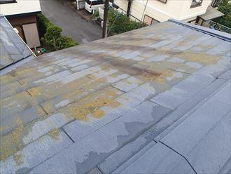 八千代市萱田町 汚れの広がりによる化粧スレートの変色
