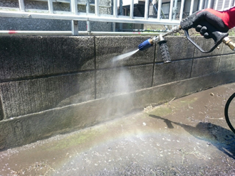 ブロック塀 高圧洗浄