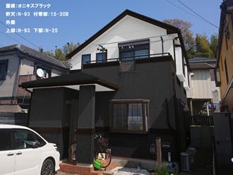屋根:オニキスブラック-軒天:N-93 付帯部:15-20B-外壁-上部:N-93 下部:N-25