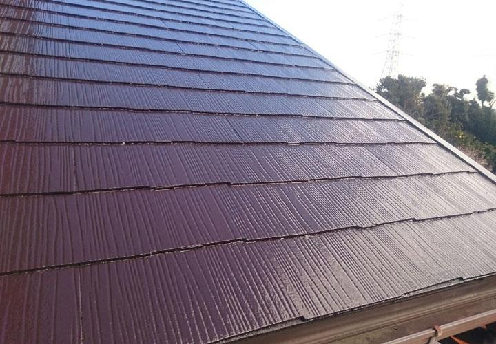 ヤネフレッシュ(RC-103)でのスレート屋根塗装が竣工