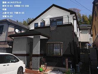 屋根:オニキスブラック-軒天:N-93 付帯部:15-20B-外壁-上部:N-93 下部:N-25-玄関:N-65