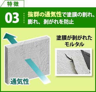 特徴3 抜群の通気性で塗膜の割れ、膨れ、剥がれを防止