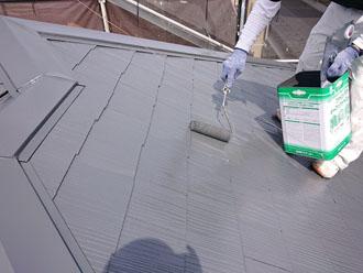 ファインバーフェクトベスト ダークグレーでスレート屋根塗装