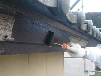 富津市 破風板の塗装