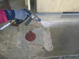 富津市 コンクリート部の高圧洗浄