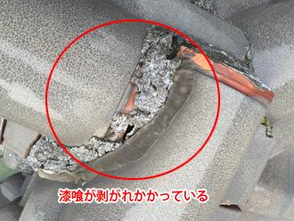 富津市 棟の漆喰が剥がれている